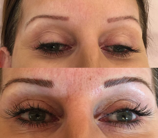 Re-shape of eyebrows using hair strokes