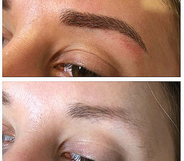 Very fine hair strokes used to fill in the missing part of the brows.